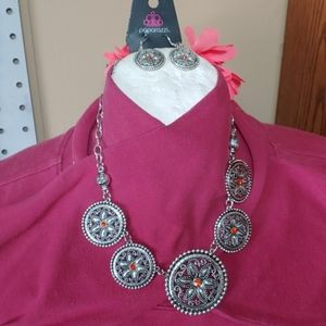 Silver and orange necklace set